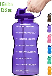 Giotto Large 1 Gallon/128oz Motivational Water Bottle with Time Marker & Straw, Leakproof Tritan BPA Free, Ensure You Drink Enough Water Daily for Fitness, Gym and Outdoor Sports