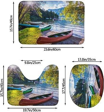 WXZQNN Alfombra De Baño Antideslizante Lago De 3 Piezas con Botes Canoas Park Juego De Alfombra De Baño Absorbente Suave Alfo