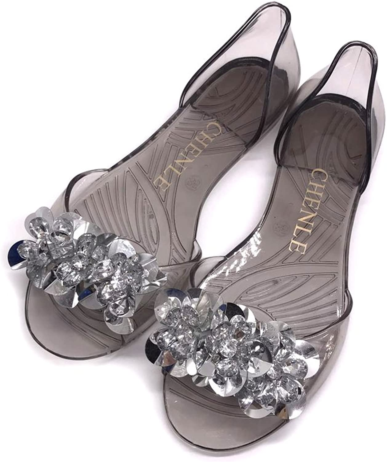 Btrada Womens Jelly Sandals Fashion Bling Man-Made Diamond Slides Peep Toe Transparent shoes Beach Flats