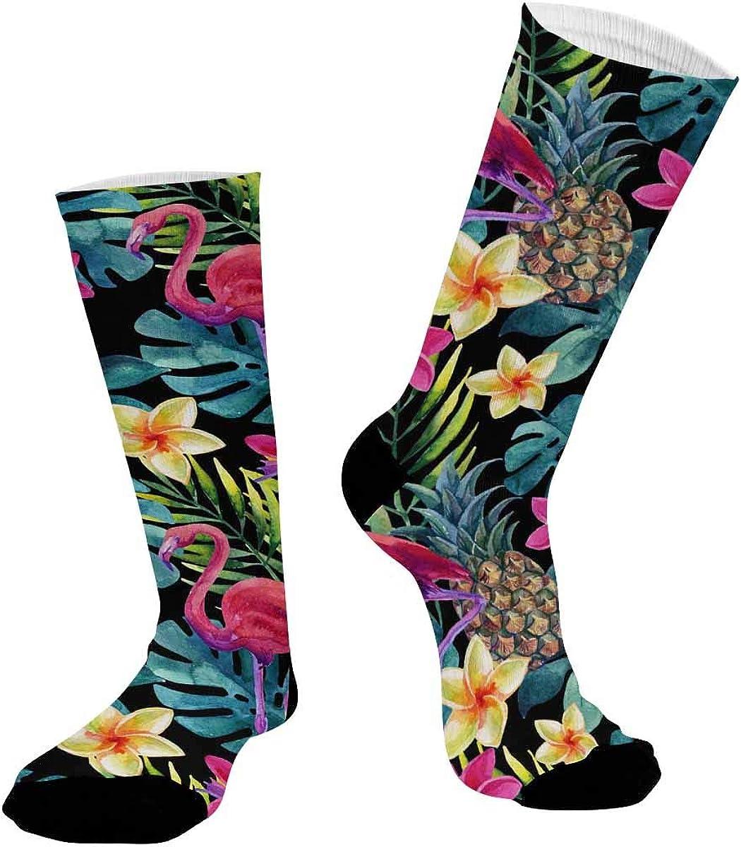 INTERESTPRINT Sublimated Crew Casual Athletic Socks Pineapple, Flamingo, Flowers
