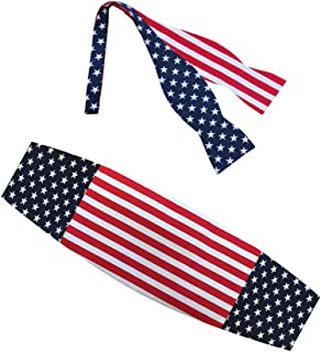 American Flag Stars and Stripes Bow Tie and Cummerbund Set