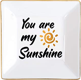 Kaidouma Gift for Daughter Sister Wife Girlfriend - You are My Sunshine - Ceramic Ring Trinket Dish Decorative Jewelry Tray for Valentine's Day Birthday Christmas
