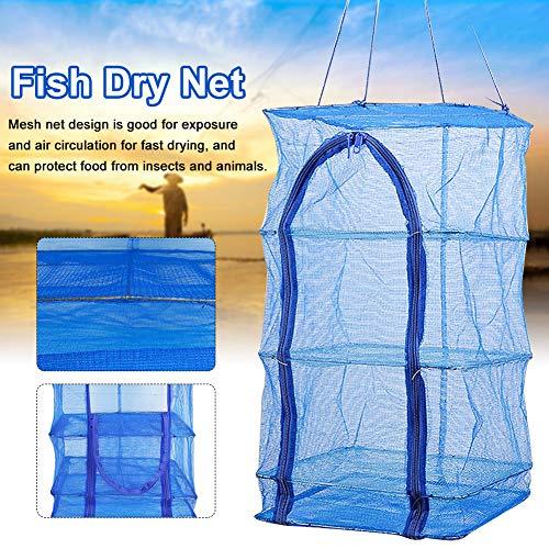 Fischtrockennetz, 3-stufiges Mikro-Hängetrocknetz für Innen- / Schranktrockner für Kräuter, Organizer, Freshner - Blue Mash Screen mit Reißverschluss von oben nach unten - Mit Aufbewahrungstasche