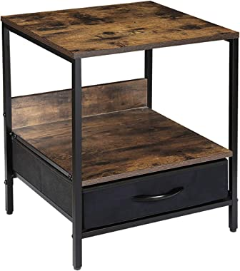 Kamiler Industrial Nightstand with Drawer -End Table,Side Table,Telephone Sofa Table Rustic Furniture Metal Frame for Bedroom