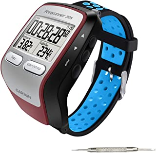 Five Star Online Replacement Band Compatible with Forerunner 205/305 Watch, Silicone Quickly Release Watch Bands Strap Strip Compatible with Forerunner 205/305 205 GPS(Black & Blue)