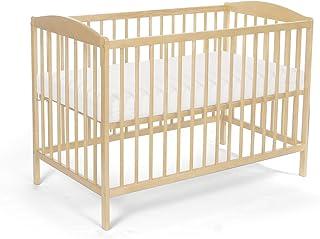 Lit pour Bébé à barreaux TOMI 5 - Barreaux amovibles avec MATELAS, Pin.