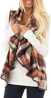 Choha Women's Lapel Open Front Sleeveless Plaid Vest Cardigan Sweater Coat
