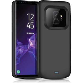 1x Samsung Galaxy S9 Plus Battery Case 6000mAh External Portable Rechargeable Battery Pack Extended Backup Protective Cover for Samsung Galaxy S9 Plus SM-G965U Black