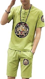 MogogoMen T-Shirt Top Summer Active Casual Linen 2-Piece Sport Sweat Suit Set