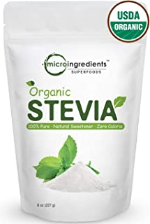 Pure Organic Stevia Powder, 8 Ounces, 1418 Serving, 0 Calorie, Natural Sweetener, Sugar Alternative, Premium Stevia for Ke...