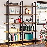 IRONCK Bookshelf, Double Wide 5-Tier Open Bookcase...