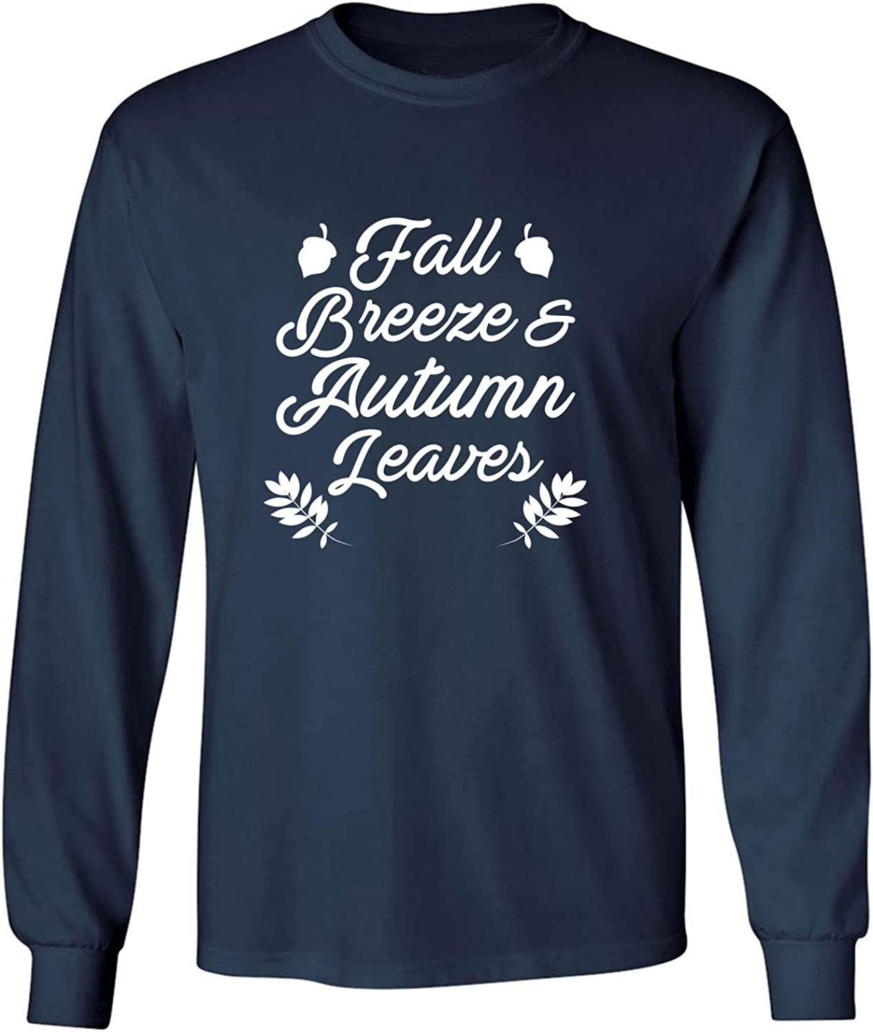 Fall Breeze & Autumn Leaves Adult Long Sleeve T-Shirt in Navy - XXX-Large
