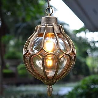 IJ INJUICY Outdoor Hanging Lantern, Rustic Waterproof Pendant Lighting Fixture in Metal with Glass Globe, 7.1