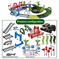 柔軟なトラック車電子鉄道道路モデルトラックおもちゃ曲げレース車diyアセンブリ再生設定して子供のギフト