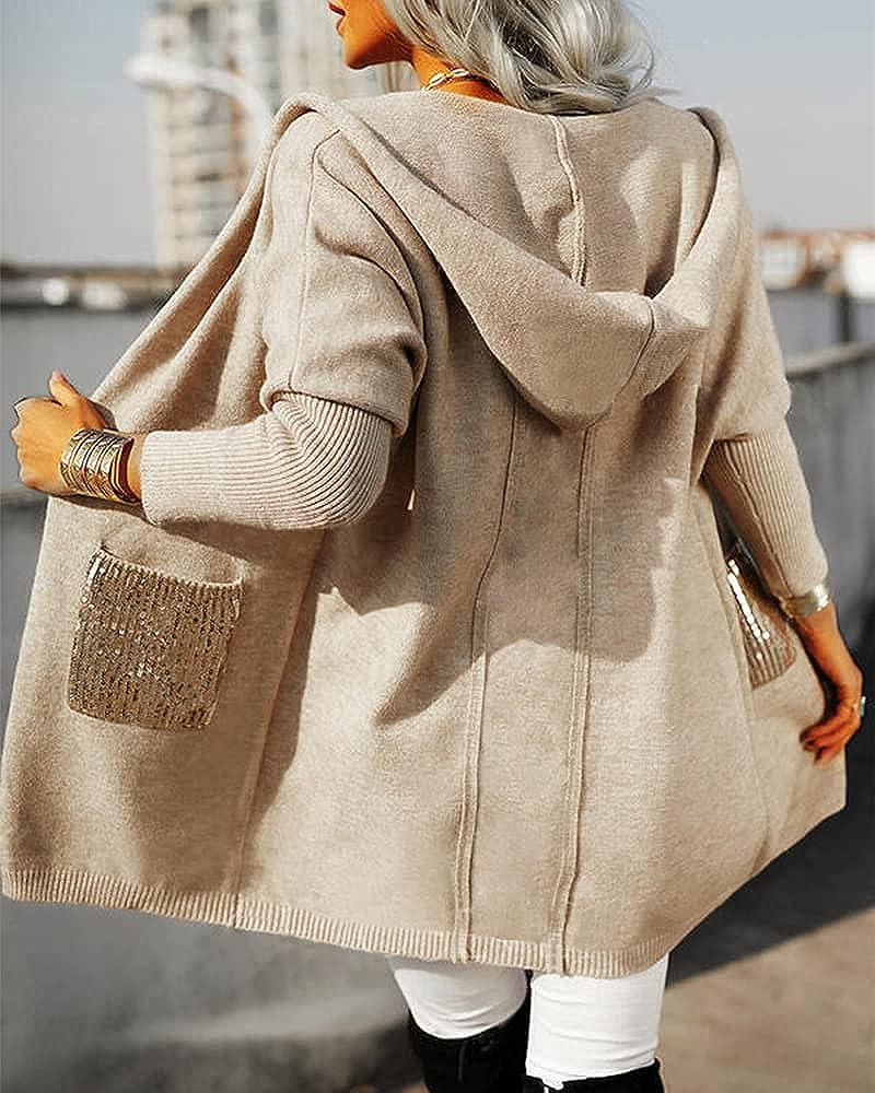 Doubauen Women's Open Front Cardigan Sweaters Solid Pocket Sequins Hooded Casual Cardigan