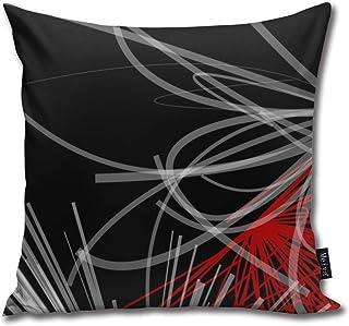 Ameok-Design Funda de cojín cuadrada decorativa de microfibra de terciopelo suave, color negro, blanco, gris y rojo, para sofá, dormitorio, coche, con cremallera invisible, 45,7 x 45,7 cm