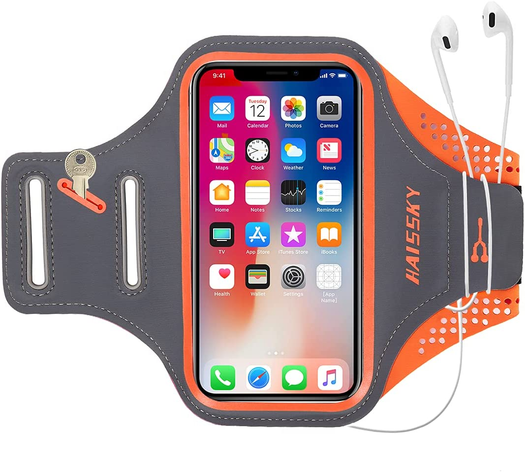 Guzack Water Resistant Running Armband, Phone Arm Holder for iPhone 12/12 Mini/12 Pro/11Pro/XR/XS/X/8, Galaxy S20/S10/S9/S8, Cell Phone Sports Arm Bands for Walking Jogging Hiking,Orange