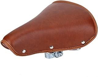 UNISTRENGH Vintage Bike Saddle, Classic Comfort PU Leather Bicycle Bike Cycling Seat Retro Rivet Spring Cushion for Men Women