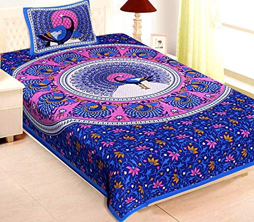 Rajasthanikart 100% Cotton Jaipuri Traditional Bedsheet - Peacock Design (Single, Blue)
