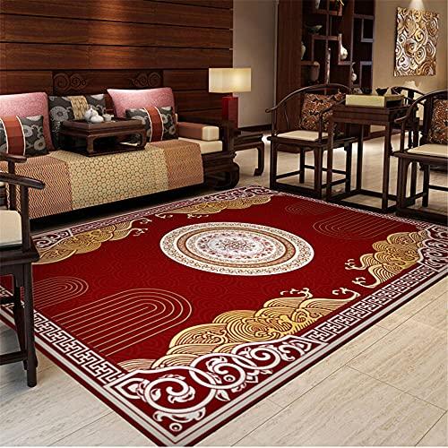 Kunsen Tapis Maison Salon Tapis Rouge Style Chinois résistant à l