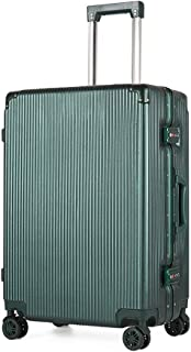 SMLCTY Lightweight Suitcases,Trolley Case, Waterproof Aluminum Frame Adjustable Lever 360° Rotating Mute Non-Slip Luggage (Color : Green, Size : 22 inch)