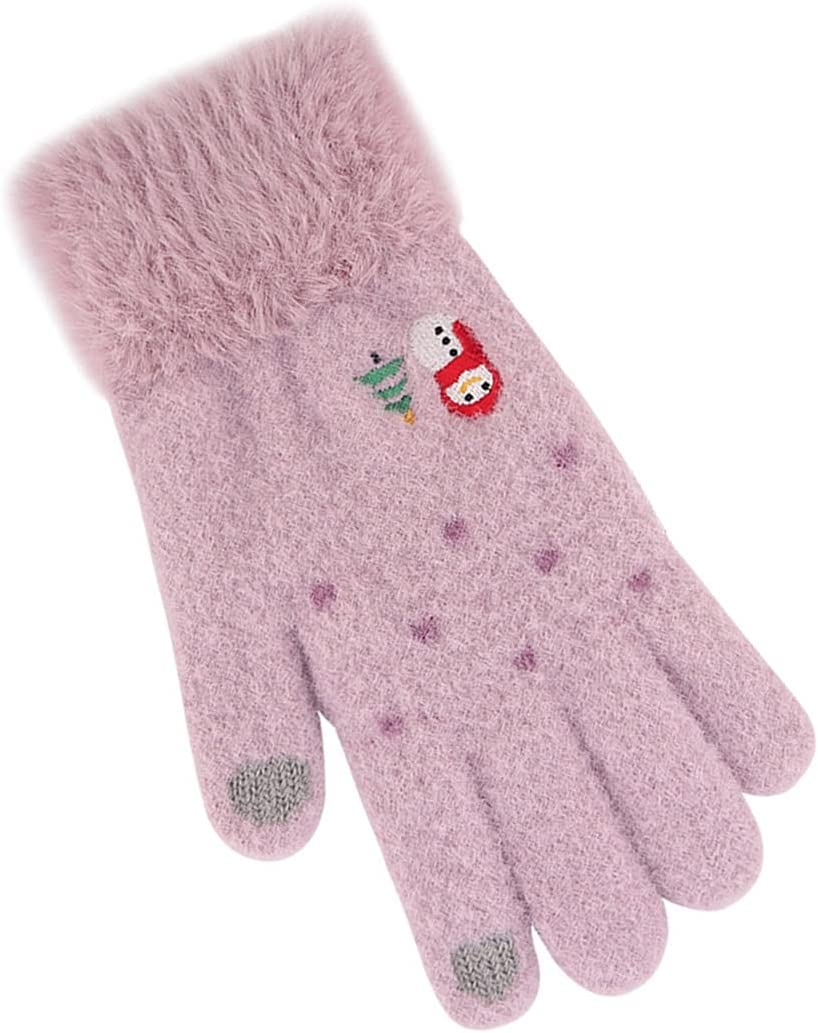 Outgeek Christmas Women Gloves Non-Slip Washable Knitted Breathable Fashion Touchscreen Gloves Running Holiday Texting