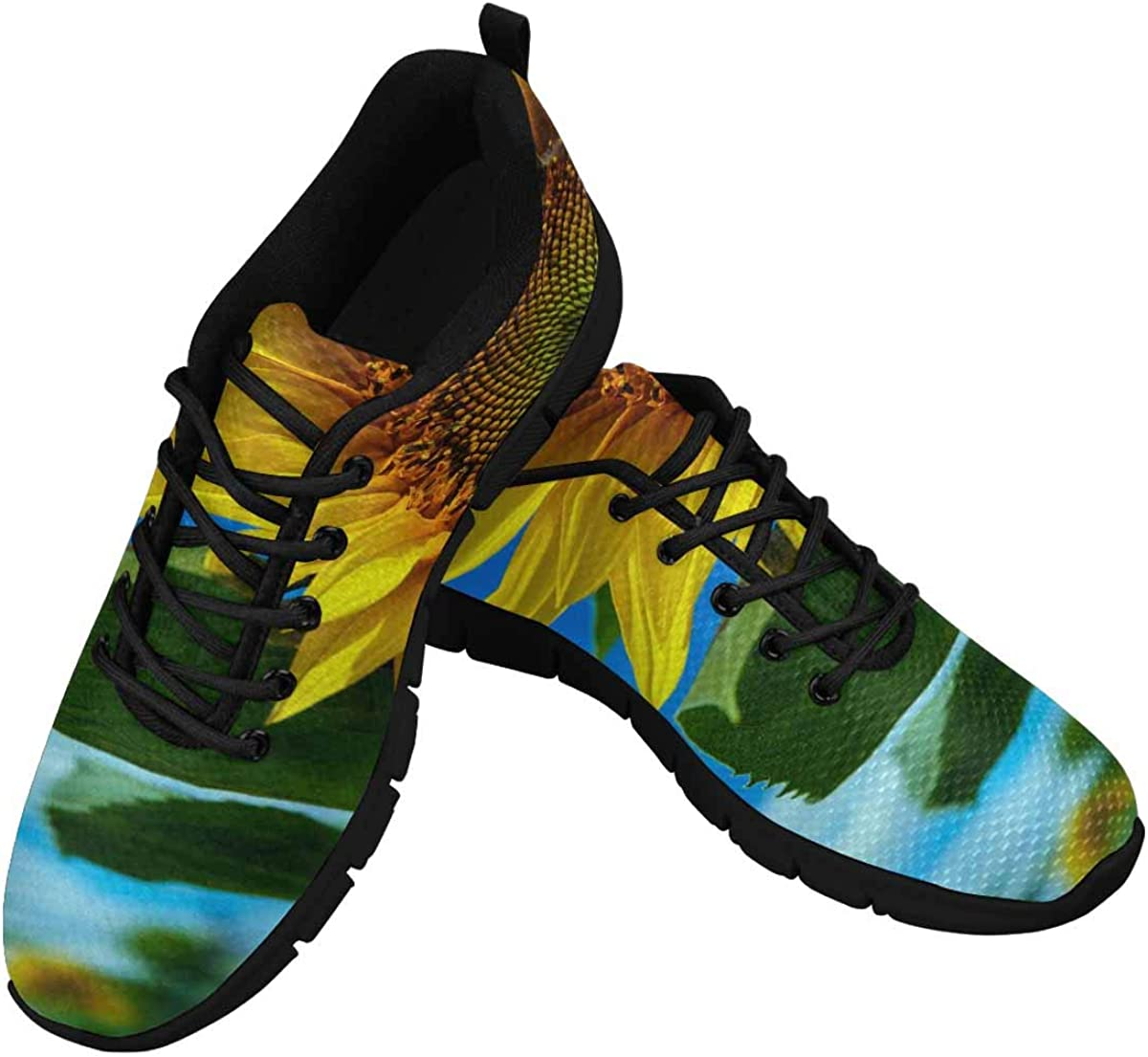 INTERESTPRINT Sunflower Yellow Women's Athletic Mesh Breathable Casual Sneakers Fashion Tennis Shoes