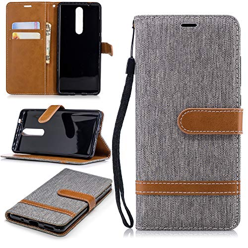 Snow Color Nokia 5.1 Hülle, Premium Leder Tasche Flip Wallet Case [Standfunktion] [Kartenfächern] PU-Leder Schutzhülle Brieftasche Handyhülle für Nokia5.1 - COBFE030904 Grau