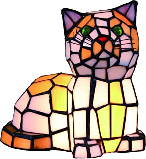 Lamps for Night Table, Stained Glass Cat Lamps, Small Tiffany Vintage Table Lamps Bedside Night Light for Bedrooms/Cats/Living Room/Nursery/Kids by FBOSS, High 10 Inch