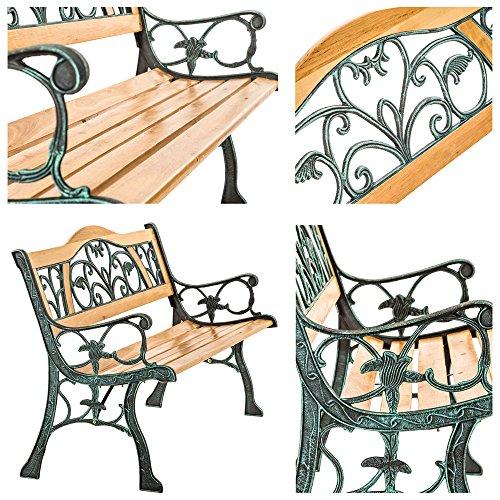 TecTake Gartenbank – Gesamtgewicht: ca. 24,5 kg – Parkbank Sitzbank Gartenmöbel Holzbank Bank Gusseisen Metall Holz wetterfest Rückenlehne aus Holz und massivem Gusseisen - 5