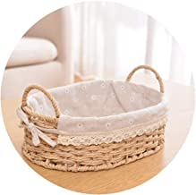YAYADU Storage Basket Paper Rope Finishing Box Hand Weave Oval Linen Cotton Lined Vegetables Fruit Shopping Newspaper Home...