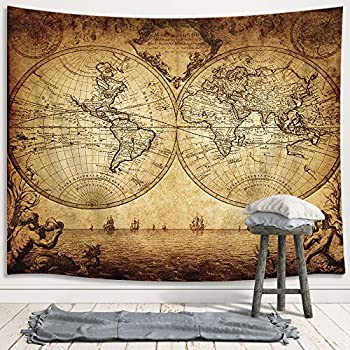 JAWO Old World Map Tapestry Vintage Wanderlust Pirate Map Tapestry Wall Hanging for Bedroom Historical Atlas Tapestries Poster Beach Blanket College Dorm Home Decor  60W X 40H