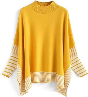 Chicwish Women's Mustard/Black / Caramel Striped Oversize Soft Knit Cape Sweater Pullover