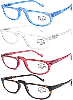 AQWANO 4 Pack Computer Reading Glasses Blue Light Blocking Lightweight Fashion Designer Half Frame Readers Spring Hinge for Men Women, 2.0