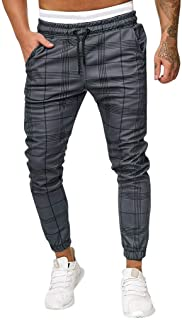 Fitfulvan Men's Joggers Long Casual Sport Pants Slim Fit Plaid Trousers Running Sweatpants