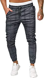 iNoDoZ Men's Plaid Long Casual Sport Pants Slim Fit Trousers Running Joggers Sweatpants with Pockets
