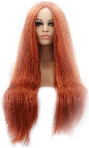 HJXJXJX Perücke Europa und die Vereinigten Staaten Cosplay lang Straight Orange rot Front Lace High Temperature Wire Perücke Head Cover