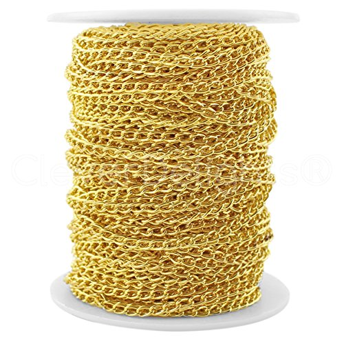 CleverDelights Curb Chain Spool - 3x5mm Link - Gold Color - 30 Feet - Bulk Chain Roll