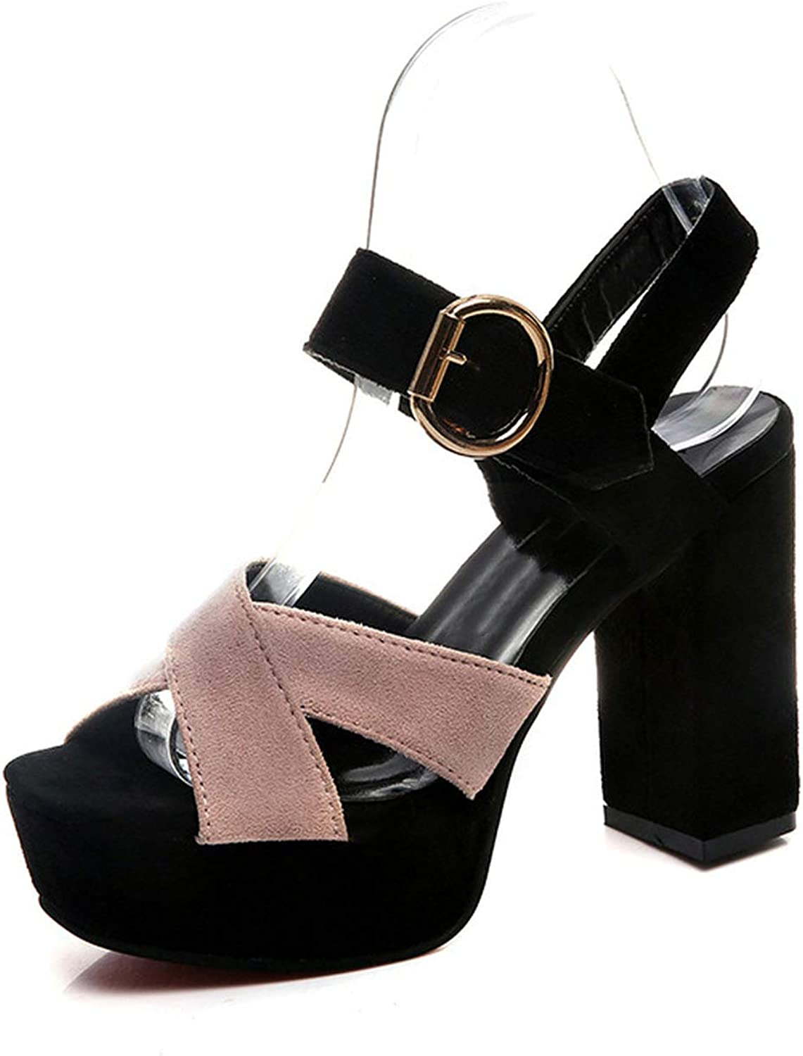 Graceful Fashion Women Casual Sexy Summer Crossed Peep Toe Sandals High Heel Sandals Ankle Belt Buckle shoes