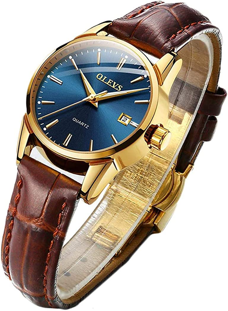 OLEVS Brown Leather Challenge the lowest price of Japan ☆ Quartz Analog Women Ladies Sale special price Business Lu Watch