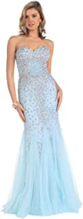 US Fairytailes Strapless Prom Rhinestone Mesh Long Dress Formal Gown #27126