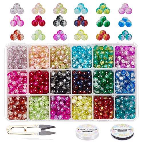 PandaHall Cuentas de cristal Crackle 6 mm, 1350 piezas de 18 colores de cristal para hacer joyas con tijeras, hilo elástico, agujas para decoración del árbol de Navidad