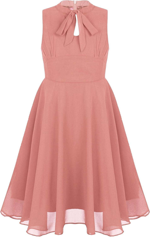 Sholeno Big Girls Sleeveless Chiffon Wedding Dress Princess Bridesmaid Party High Waist Ball Gown