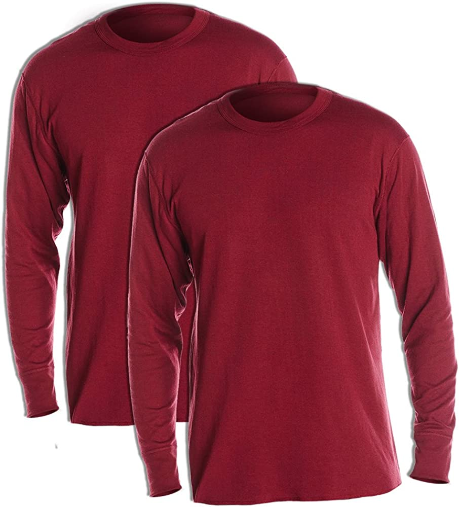 Duofold KMW1 Men's Midweight Thermal Crew Bordeaux Red (Pack of 2)