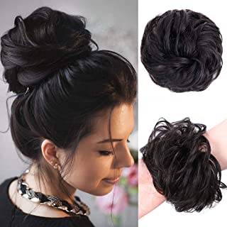 Stamped Glorious 100% Human Hair Curly Wavy Updo Hair Bun Extensions Curly Messy Hair Pieces for Women Wedding Hair Pieces for Women Kids Donut Updo Ponytail Scrunchy Updo Human Hair Extension