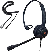 IPD IPH-250 Optimo-X Single Ear Noise Cancelling, Corded Headset for Call Center,Office and Landline Phones w U10P Bottom Cable w RJ9 Jack Works with Poycom VVX,Avaya,Nortel, Mitel and Most IP Phones