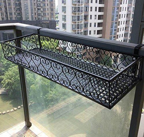 HQQ Balustrades Flower Racks, Full Pattern Augmenter Style Européen Balcon Suspension Fer Fleur Pot Rack Noir Stable Fort Enregistrer Économie (Taille : 100 * 30 cm)