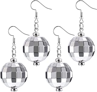 Tatuo 2 Pairs of Disco Ball Earrings 60's or 70's Silver Disco Ball Earrings for Women