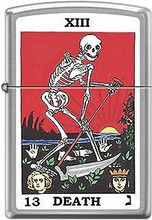 Tarot XIII Death Card Skeleton with Sickle Chrome Zippo Lighter