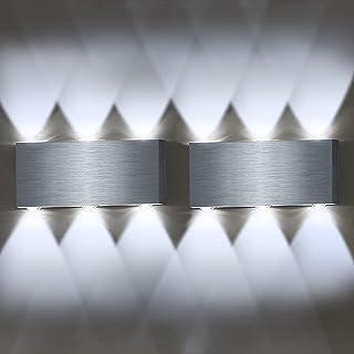 Lovebay 2pcs 6W Applique Murale Interieur LED Up Down Lampe Murale en Aluminium 3000-6000K Décoration Lumière Mural pour C...